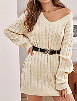 cheap -Women's A Line Dress Short Mini Dress Gray Red Beige Long Sleeve Solid Color Jacquard Fall Winter V Neck Casual 2021 S M L