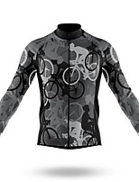 cheap -21Grams Men's Long Sleeve Cycling Jersey Spandex Polyester Grey 3D Funny Bike Top Mountain Bike MTB Road Bike Cycling Quick Dry Moisture Wicking Breathable Sports Clothing Apparel / Stretchy