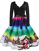 cheap -Santa Suit Audrey Hepburn Dress Swing Dress Adults' Women's Vintage Festival Christmas New Year Festival / Holiday Terylene Red Peach / Red+Black / Purple / Blue Women's Easy Carnival Costumes / Belt