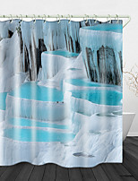 cheap -Beautiful Snow Scene Printed Waterproof Fabric Shower Curtain Bathroom Home Decoration Covered Bathtub Curtain Lining Including hooks.