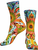 cheap -Socks Cycling Socks Men's Women's Bike / Cycling Breathable Soft Comfortable 1 Pair Floral Botanical Cotton Blue+Yellow S M L / Stretchy