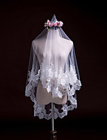 cheap -Two-tier Classic Style Wedding Veil Elbow Veils with Embroidery / Appliques 31.5 in (80cm) Lace