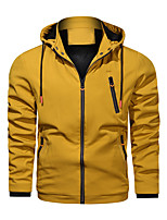 cheap -Men's Hoodie Jacket Hiking Windbreaker Military Tactical Jacket Outdoor Thermal Warm Windproof Lightweight Breathable Outerwear Trench Coat Top Skiing Fishing Climbing Yellow Red Wine Black