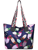 cheap -Women's Bags Oxford Cloth Polyester Tote Zipper Floral Print Daily Going out Tote Handbags Black / White Blue Gray Black