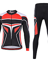 cheap -21Grams Men's Long Sleeve Cycling Jersey with Tights Spandex Black / Red Bike Quick Dry Moisture Wicking Sports Geometric Mountain Bike MTB Road Bike Cycling Clothing Apparel / Stretchy / Athletic