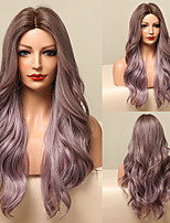 cheap -HAIR CUBE Ombre Brown Purple Long Wavy Synthetic Wigs for Women Natural Middle Part Cosplay Party Lolita Heat Resistant Hair