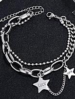 cheap -Women's Chain Bracelet Charm Bracelet Bracelet Double Layered Star Simple Fashion European Trendy Steel Bracelet Jewelry Silver For Gift Daily Work