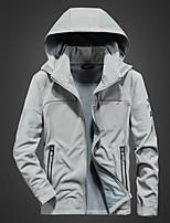 cheap -Men's Hoodie Jacket Hiking Softshell Jacket Hiking Fleece Jacket Winter Outdoor Thermal Warm Waterproof Windproof Fleece Lining Outerwear Windbreaker Trench Coat Skiing Fishing Climbing Blue gray