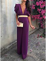 cheap -Jumpsuits Minimalist Elegant Party Wear Wedding Guest Dress V Neck Short Sleeve Floor Length Spandex with Sash / Ribbon Ruffles 2021