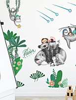 cheap -cartoon raccoon tropical green plants children bedroom porch cabinet home decoration wall stickers self-adhesive