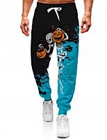 cheap -Men's Casual Designer Big and Tall Halloween Breathable Sports Jogger Pants Sweatpants Trousers Daily Fitness Pants Graphic Prints Skull Pumpkin Full Length Drawstring Elastic Waist Blue / Elasticity