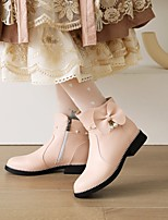 cheap -Women's Boots Flat Heel Round Toe Booties Ankle Boots Daily Outdoor Faux Leather Pearl Imitation Pearl Solid Colored Pink White Black / Mid-Calf Boots