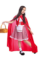 cheap -Little Red Riding Hood Dress Kid's Girls' Halloween Halloween Halloween Festival / Holiday Polyster Red Easy Carnival Costumes Grid / Plaid Patterns / Cloak