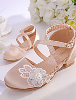 cheap -Girls' Heels Flower Girl Shoes Satin Wedding Dress Shoes Little Kids(4-7ys) Big Kids(7years +) Wedding Party Party & Evening Pearl Flower Champagne Ivory Fall Summer