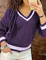 cheap -Women's Sweater Knitted Striped Solid Color Casual Long Sleeve Sweater Cardigans V Neck Winter Blue Purple Orange