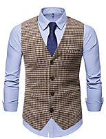 cheap -Men's Vest Gilet Business Work Fall Winter Regular Coat Regular Fit Thermal Warm Business Casual Jacket Sleeveless Houndstooth Color Block Pocket Patchwork Gray Coffee