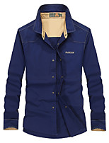 cheap -Men's Hiking Shirt / Button Down Shirts Outdoor Thermal Warm Windproof Lightweight Breathable Shirt Top Skiing Fishing Climbing Blue Brick red khaki Army Green / Camping / Hiking / Caving