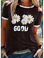 cheap -floral round neck casual t-shirts