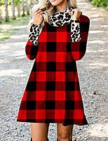 cheap -Women's A Line Dress Short Mini Dress Red Long Sleeve Plaid Print Fall Round Neck Casual 2021 S M L XL