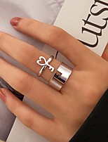 cheap -Ring Hollow Out Silver Alloy Keys Stylish Simple Punk 2pcs / Women's / Open Ring