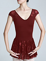 cheap -Ballet Dress Women's Skirt Dress Leotard Spandex Cotton High Elasticity Quick Dry Breathable Sweat wicking Solid Color Short Sleeve Training Competition Ballet Dance Aerial Yoga Rhythmic Gymnastics