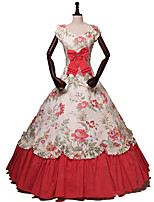 cheap -Ball Gown Elegant Vintage Halloween Quinceanera Dress Square Neck Short Sleeve Floor Length Cotton Blend with Bow(s) Pattern / Print 2021