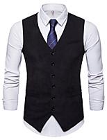 cheap -Men's Vest Gilet Daily Going out Spring Short Coat Single Breasted V Neck Regular Fit Breathable Business Casual Jacket Sleeveless Plain Pocket Khaki Black Navy Blue