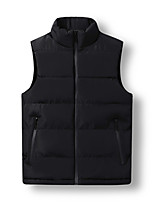 cheap -Men's Vest Daily Fall Winter Regular Coat Zipper Stand Collar Regular Fit Warm Casual Jacket Sleeveless Solid Color Pocket Blue Wine Black
