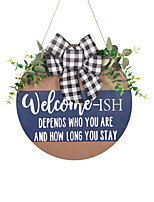 cheap -Welcome Doorplate Wooden Pendant Artificial Flowers And Green Plants Listed For Home Holiday Decorations
