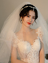 cheap -One-tier Cute / Sweet Wedding Veil Elbow Veils with Sequin / Solid / Paillette Tulle
