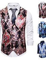 cheap -Men's Vest Gilet Daily Spring Summer Short Coat Regular Fit Quick Dry Lightweight Breathable Casual Jacket Sleeveless Print Pocket Blue White Red