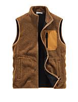 cheap -Men's Vest Gilet Sport Daily Winter Regular Coat Regular Fit Thermal Warm Warm Sporty Jacket Sleeveless Solid Color Pocket Dark Grey Yellow Black
