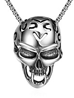 cheap -Pendant Necklace Men's Geometrical Titanium Steel Skull Vintage Cool Silver 60 cm Necklace Jewelry 1pc for Halloween Street Daily Festival Geometric