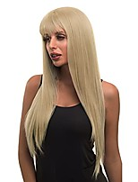 cheap -ash blonde wigs with bangs, natural looking long straight wigs for women, 27 inch heat resistant colorful wig for daily cosplay party wear