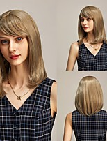 cheap -Cosplay Costume Wig Synthetic Wig Straight Yaki Straight Bob With Bangs for Women Cosplay Daily Silky Natural Blonde Color Free Cap