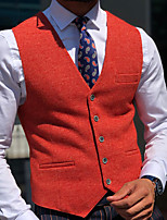 cheap -Men's Vest Waistcoat Dailywear Euramerican Solid Colored Single Breasted Regular Fit Polyester Men's Suit Red - V Neck