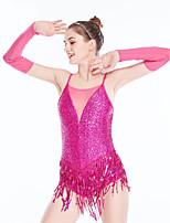 cheap -Latin Dance Dance Costumes Hair Jewelry Tassel Solid Splicing Women's Girls' Training Performance Sleeveless Nylon Chinlon Tulle