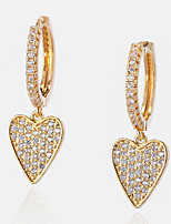 cheap -Women's Clear Cubic Zirconia Hoop Earrings Geometrical Happy Stylish Simple Earrings Jewelry Silver / Gold For Daily Prom