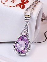 cheap -Pendant Necklace Necklace Women's Classic Cubic Zirconia Silver Plated Simple Fashion Classic Casual / Sporty Sweet Cute Purple 45 cm Necklace Jewelry 1pc for Street Gift Daily Prom Festival