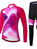 cheap -21Grams Women's Long Sleeve Cycling Jersey with Tights Spandex Polyester Rose Red Funny Bike Clothing Suit 3D Pad Quick Dry Moisture Wicking Breathable Back Pocket Sports Graphic Mountain Bike MTB