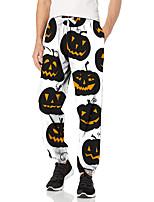 cheap -Men's Fashion Halloween Breathable Sports Pants Sweatpants Casual Daily Pants Pumpkin Halloween pattern Full Length Elastic Drawstring Design Print White Black