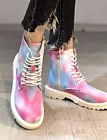cheap -Women's Boots Block Heel Round Toe Daily PU Lace-up Rainbow
