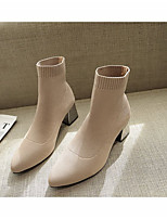 cheap -Women's Boots Chunky Heel Pointed Toe Rubber Solid Colored Khaki Black