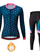 cheap -21Grams Women's Long Sleeve Cycling Jersey with Tights Winter Fleece Spandex Blue Dot Bike Quick Dry Moisture Wicking Sports Dot Mountain Bike MTB Road Bike Cycling Clothing Apparel / Stretchy