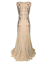 cheap -A-Line Elegant Vintage Holiday Party Wear Dress Jewel Neck Sleeveless Floor Length Cotton Blend with Sequin Splicing 2021