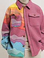 cheap -Women's Jacket Street Daily Fall Winter Regular Coat Regular Fit Warm Breathable Sporty Casual Jacket Long Sleeve Print Color Block Pocket Print Blue Blushing Pink