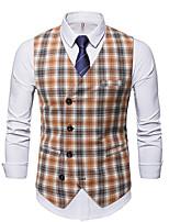 cheap -Men's Vest Gilet Wedding Work Fall Winter Regular Coat Regular Fit Thermal Warm Casual Jacket Sleeveless Plaid / Check Pocket Patchwork Khaki