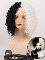 cheap -Cosplay Short Synthetic Wigs for Women Cosplay Party High Temperature Fiber Curly Hair Black & White Wig 2 Color Mix Wig