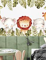cheap -cartoon lion elephant monkey giraffe green plants children's bedroom wall decoration wall sticker
