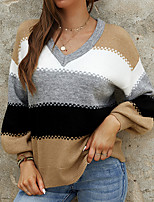 cheap -Women's Pullover Sweater Jumper Knitted Color Block Stylish Casual Long Sleeve Regular Fit Sweater Cardigans V Neck Fall Winter Blue Wine Gray